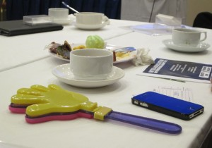 The plastic clappers used by members at BNI Gateway in Singapore